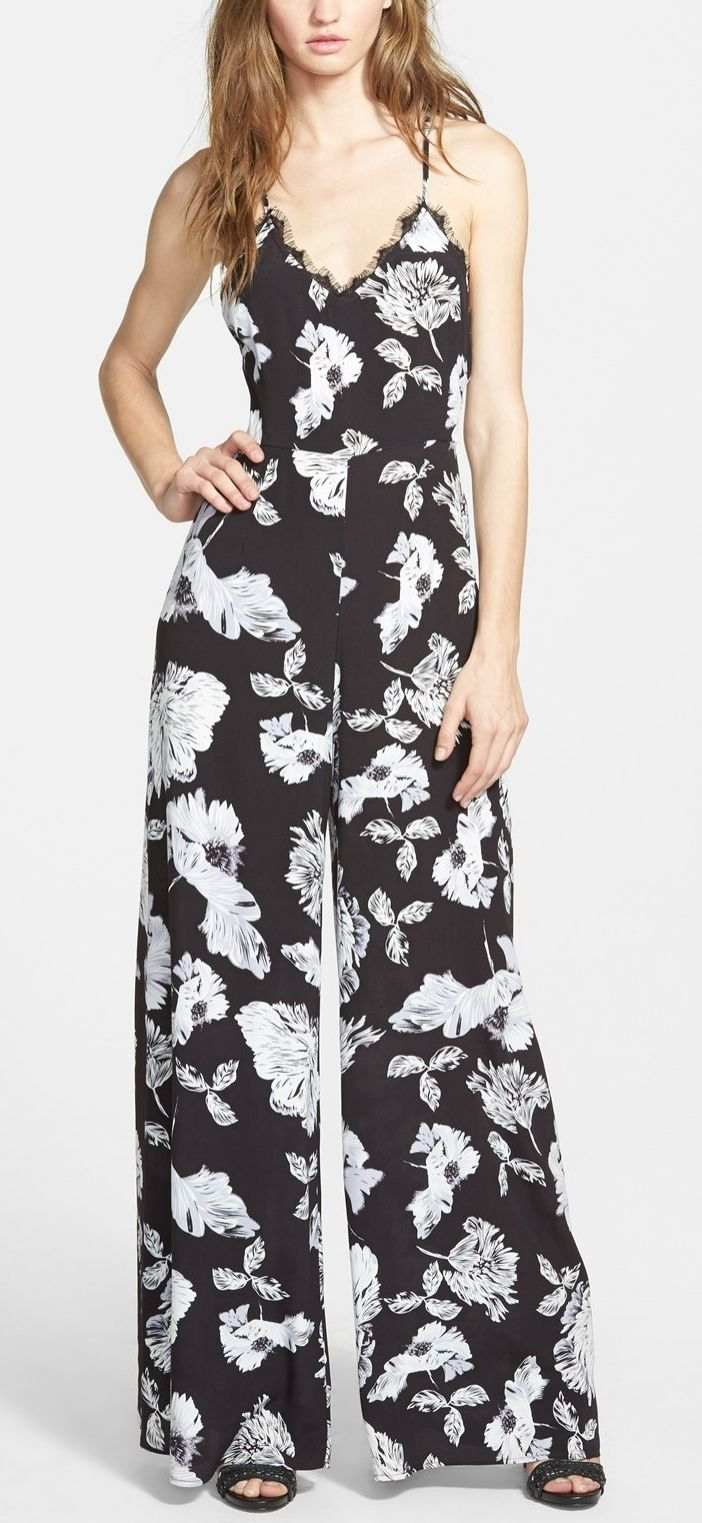 Obsessing over this lace trim floral jumpsuit.