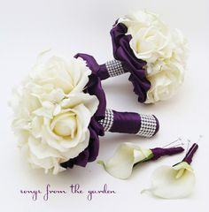 Purple Wedding Flower Package Bridesmaid Bouquets Groomsman Boutonnieres Silk Stephanotis Real Touch Roses Real Touch Calla Lilies by SongsFromTheGarden on Etsy https://www.etsy.com/listing/158829119/purple-wedding-flower-package-bridesmaid
