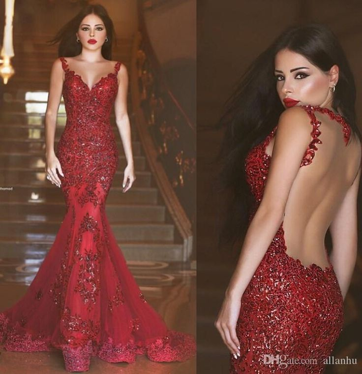 2016 New Burgundy Illusion Back Mermaid Prom Dresses Red Arabic Long Prom  Gowns…