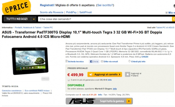 ASUS Transformer Pad TF300TG (3G) disponibile a 499 euro su Eprice