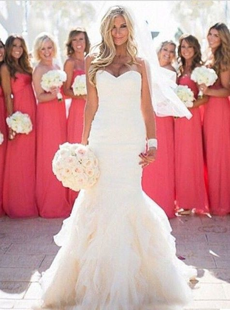 Sweetheart Ruffles Floor-length Mermaid Wedding Dress