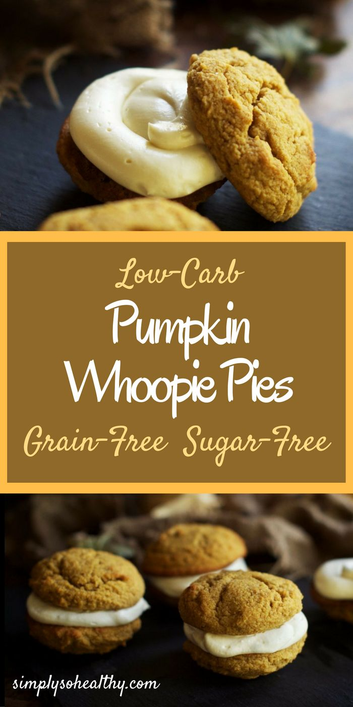 These pumpkin whoopie pies melt in your mouth and taste like fall. Pumpkin and warm autumn spices flavor these soft cookie sandwiches. Nestled between the cookies rests a voluptuous, vanilla cream cheese filling. This combination of cookie and filling makes a fall treat you won't believe is low-carb and grain-free.