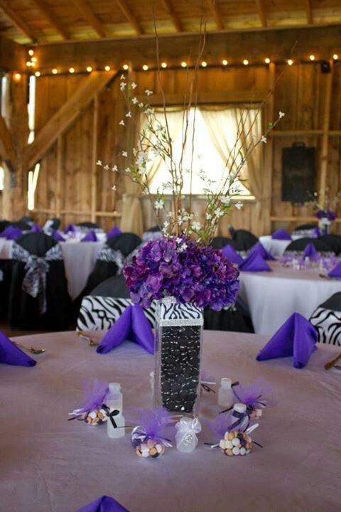 Purple and zebra wedding decor