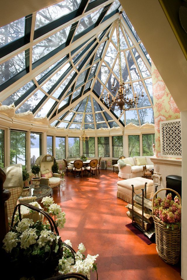 Two story conservatory library & tea room