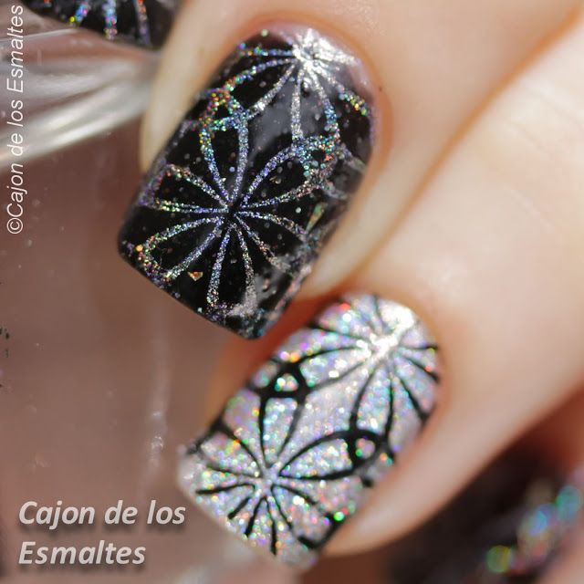 Black and Silver nail art @bornprettynails Plate BPL004