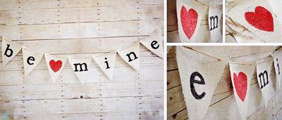 BE MINE Burlap Valentine's Banner