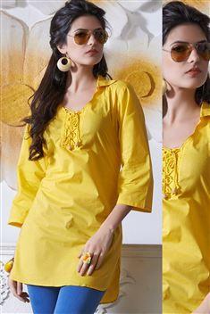 Yellow Short Cotton Kurtis