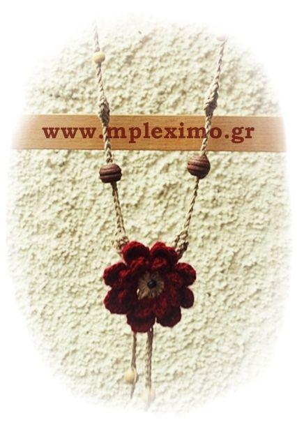 crochet big flower necklace