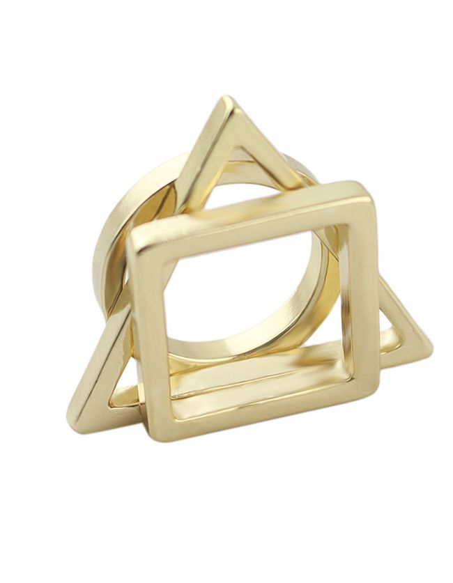 New Style Cheap Wholesale Geometry Gold Plated Ring Set 4.76