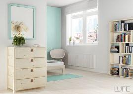 Cómodas baratas de madera ecológica en blanco nórdico, barnizada o madera maciza pulida  - MueblesLUFE