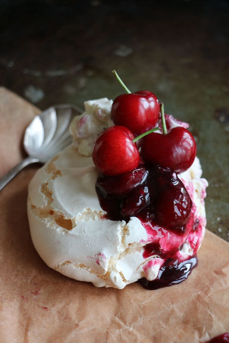 Mini Pavlovas with Cherry & Blueberry Compote