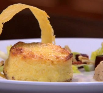 Pressure Test: Twice Baked Three Cheese Soufflé with a Waldorf Salad, Onion Braise and Gruyère Tuile | Recipes | Masterchef South Africa | SA Reality TV Show