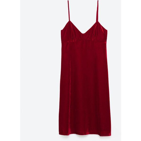 FLUWELEN JURK - NIEUW-DAMES | ZARA Nederland (1 145 UAH) ❤ liked on Polyvore featuring red dress, velvet dress and red velvet dress