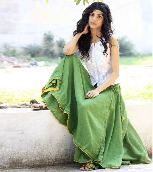Green banjara skirt