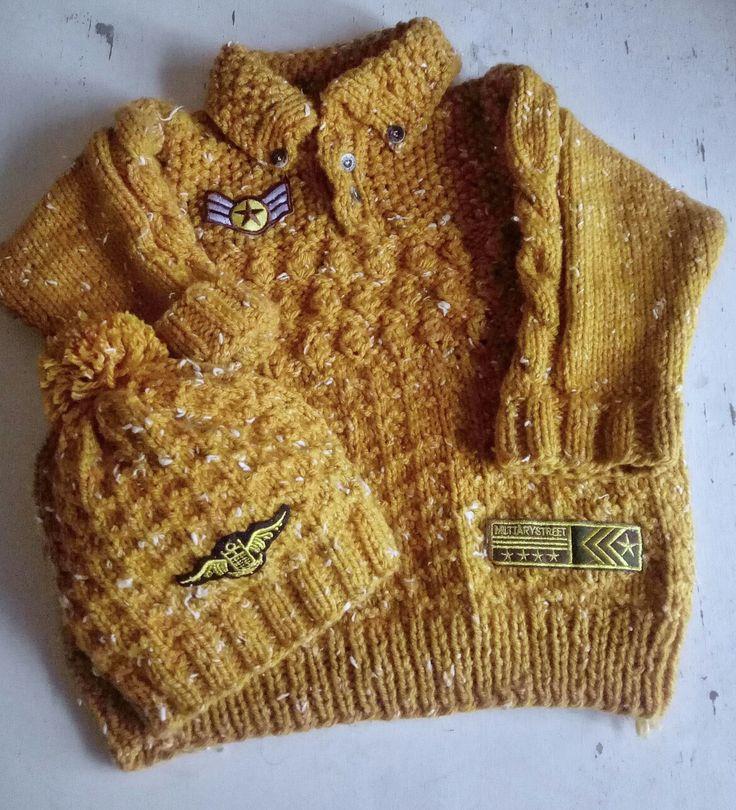 Two neddles sweater Tejido en dos agujas punto combinado / sweater tejido con parches