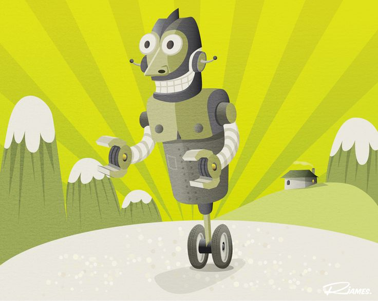 Russell James - smiling robot with wheels.