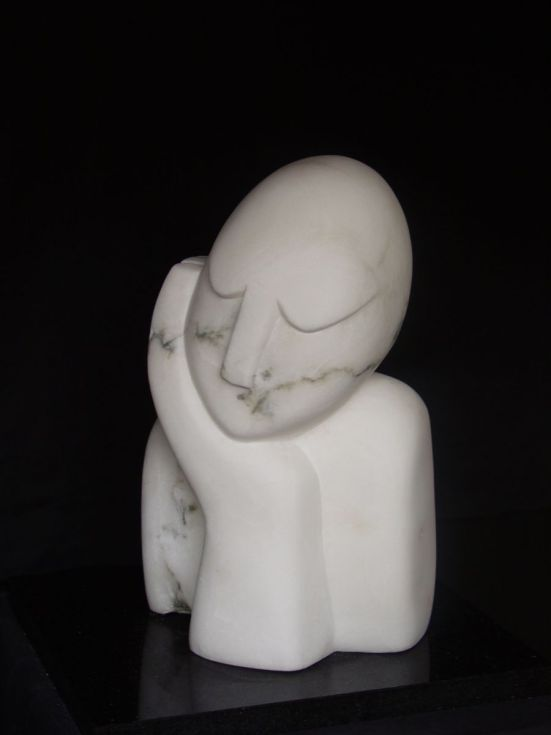 ARTFINDER: TO SIT AND DREAM by Nicola Beattie - Part of the series of semi-abstract figurative stone sculptures I hand-carved on the theme of peace and contemplation.  These sculptures are still and restfu...