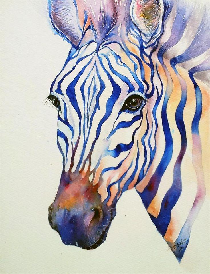 """Intense Blue zebra"" original fine art by Arti Chauhan #watercolorarts"