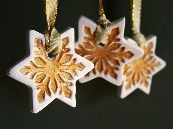 Porcelain Christmas stars. Gold dusted snowflake. by marcy