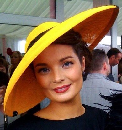 Wide brimmed yellow hat