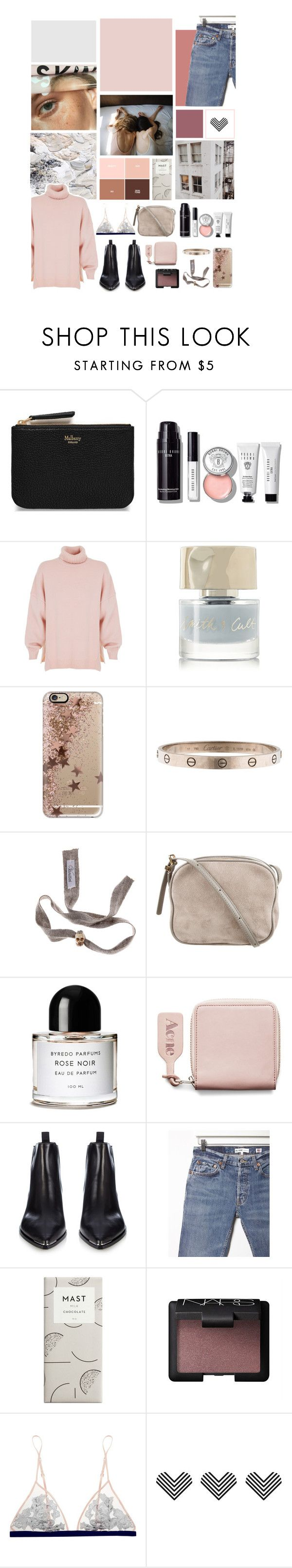 """glossier girls"" by wheretheoceanstood ❤ liked on Polyvore featuring Mulberry, Bobbi Brown Cosmetics, TIBI, Smith & Cult, Casetify, Cartier, The Row, Byredo, Acne Studios and RE/DONE"