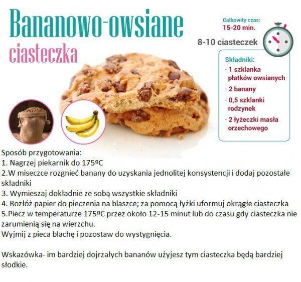 Dietetyczne, bananowo - owsiane ciasteczka - MEGA PROSTE!!!