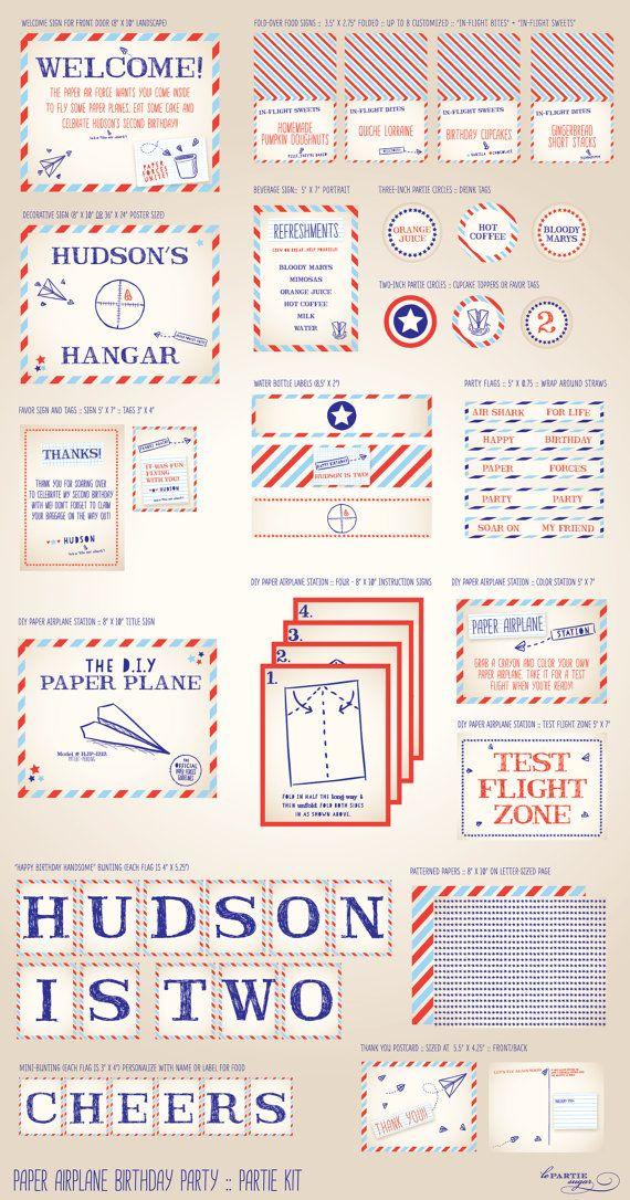 Paper Airplane Birthday Party -  Partie Kit  - PRINTABLE