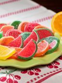 Boston fruit slices candy are soft, chewy and fat free and cholesterol free. Original fruit slices zesty with fruit flavor and lightly sprinkled with sugar. Two 14 oz tubs.