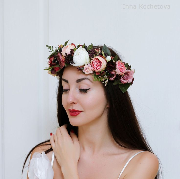 Rose peony flower crown Wedding hair wreath Bridal floral crown Pink white burgundy flower crown Boho wedding Flower headband by ByKochetova on Etsy https://www.etsy.com/listing/492177471/rose-peony-flower-crown-wedding-hair