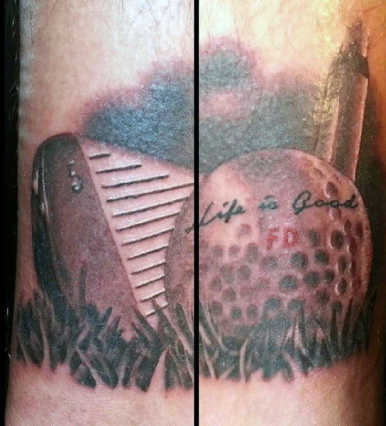 Mens Torso Life Is Good Golf Ball Tattoo