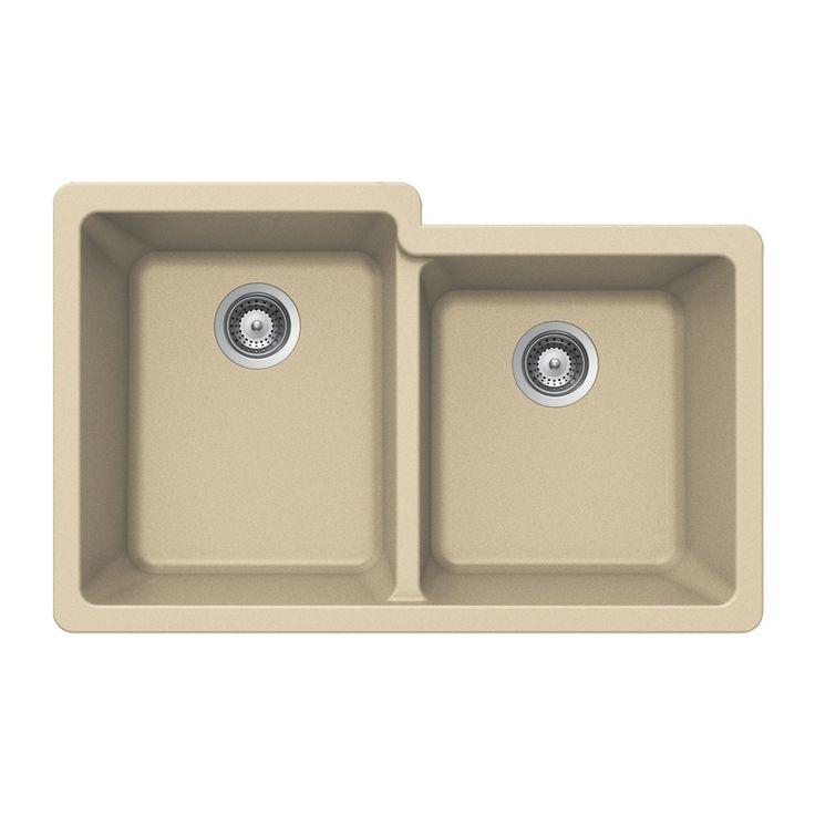 Houzer M-175U Quartztone Series Granite Undermount 60/40 Double Bowl Kitchen Sink