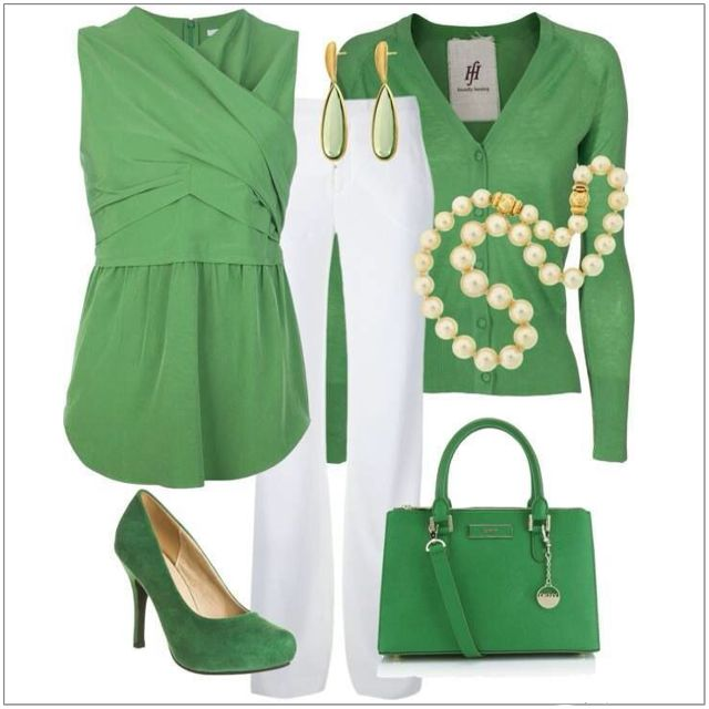 CHATA'S DAILY TIP: If you are nervous of wearing white at the bottom try a layered look i.e.: combine a hip length top (to conceal rounded tummies and fuller hips) with a shorter, medium length cardi. Swop the high heel green courts for metallic (silver, gold or pewter) sandals for a more chic, casual look. COPY CREDIT: Chata Romano Image Consultant, Marlise du Plessis http://chataromano.com/consultant/marlise-duplessis/ IMAGE CREDIT: Pinterest