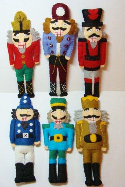Nutcracker Ornaments Stuffed Wool Felt Blend by woolhearts on Etsy, $80.00