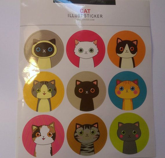 Kawaii Round Cat/Face Stickers Planners by PumpkinParcel on Etsy