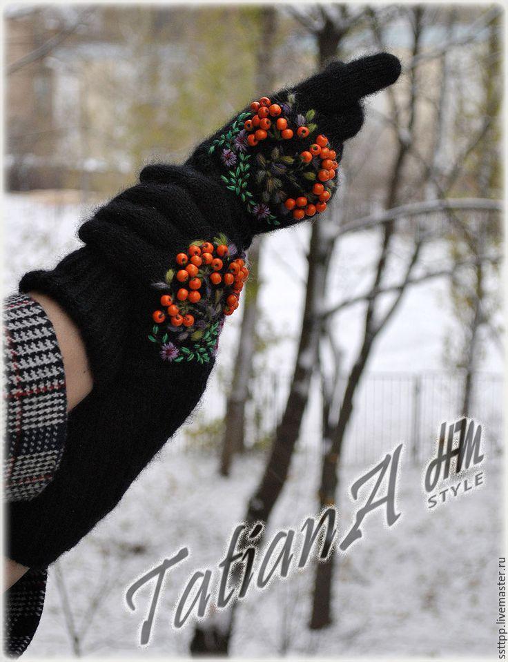 """Купить Укороченные перчатки с вышивкой """"Рябиновые 5"""" черные - черный, перчатки, перчатки женские"""