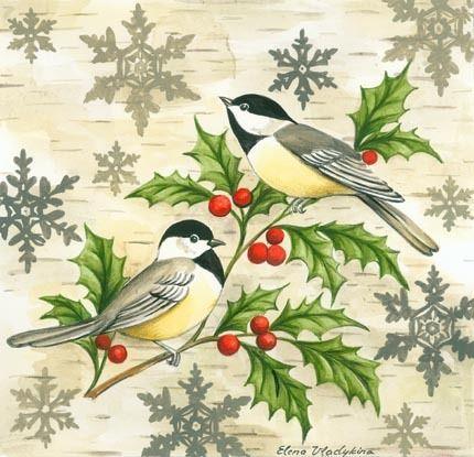 Chickadees and Holly by Elena Vladykina