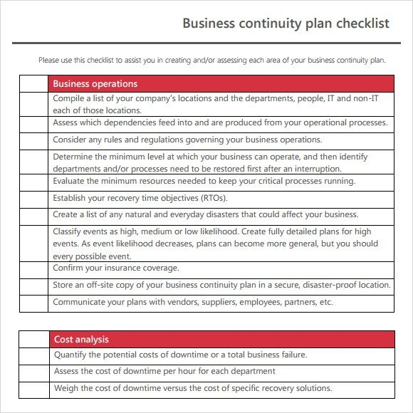 Business Continuity Plan Template Business Continuity How To Plan
