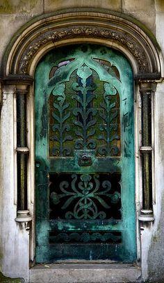 Tomb door at Brampton Cemetery, in London, England.