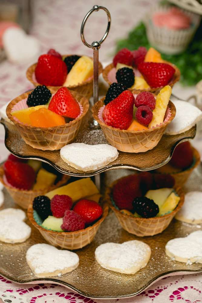 Fruit cups at an Alice in Wonderland birthday party! See more party ideas at CatchMyParty.com!