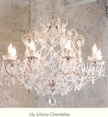 Lily Juliana Chandelier by Rachel Ashwell.  Replace your boring lighting with a crystal chandelier for a shabby chic look. This chandelier can be found on www.shabbychic.com.