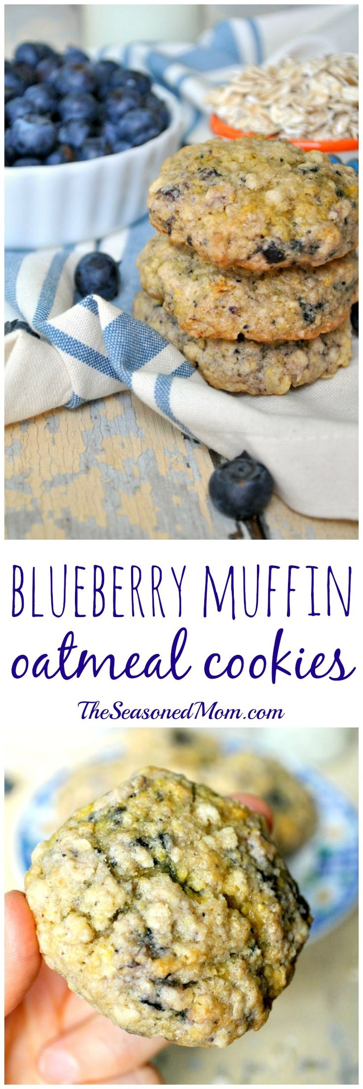 whole grains + a boxed muffin mix - thick, soft, and chewy Blueberry Muffin Oatmeal Cookies - perfect for breakfast, snack, or even dessert!