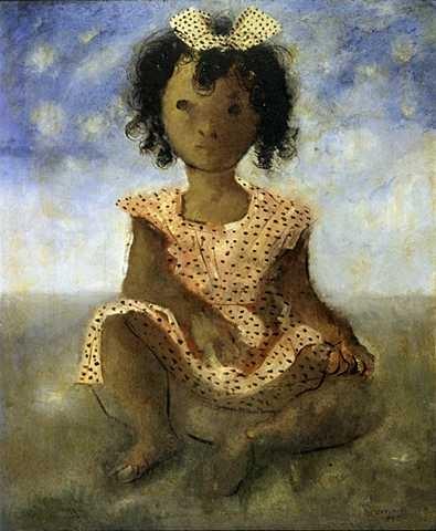 """""""Menina sentada"""" de Cândido Portinari http://www.portinari.org.br/candinho/candinho/OA_3098.JPG"""
