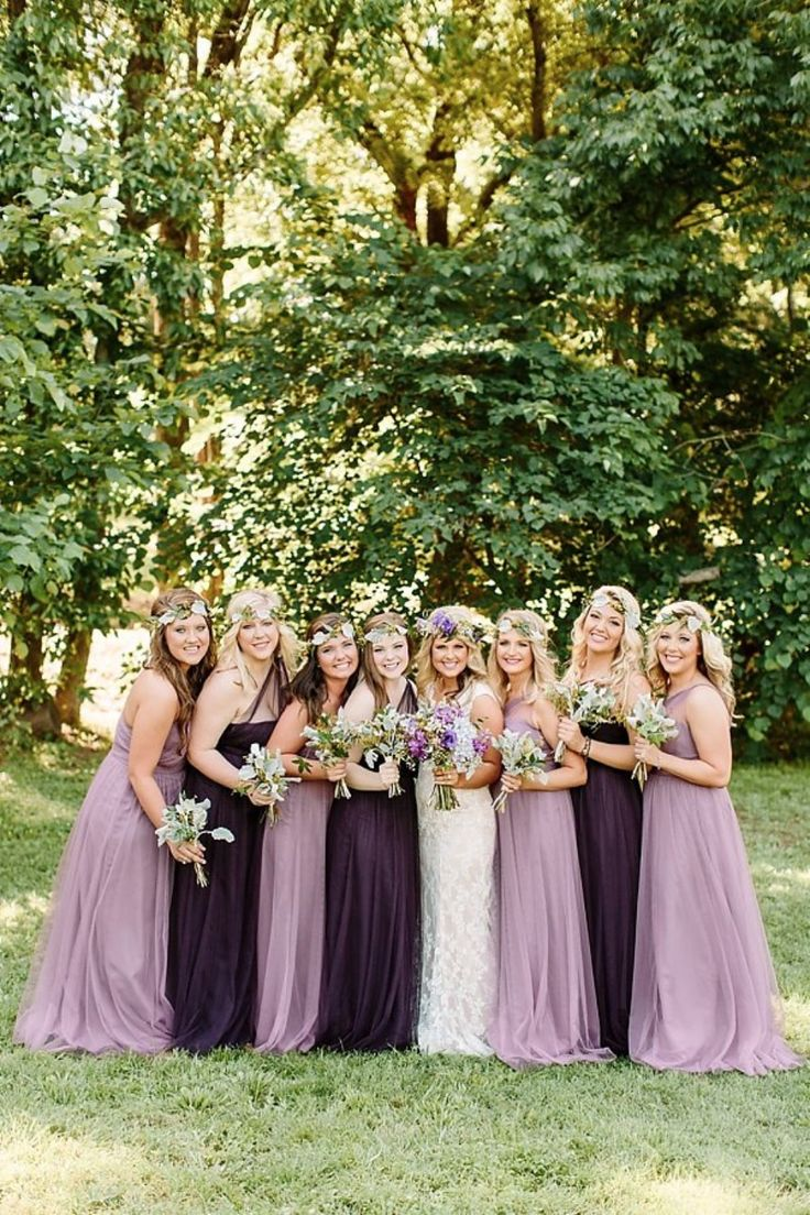 dusty purple and deep plum bridesmaid dresses