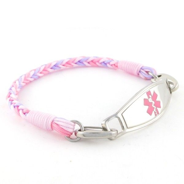 Original N-Style ID Design  Cotton Candy Zany Pink Medical ID Bracelet for Women wear as a Diabetes Bracelet Allergy Bracelet and more