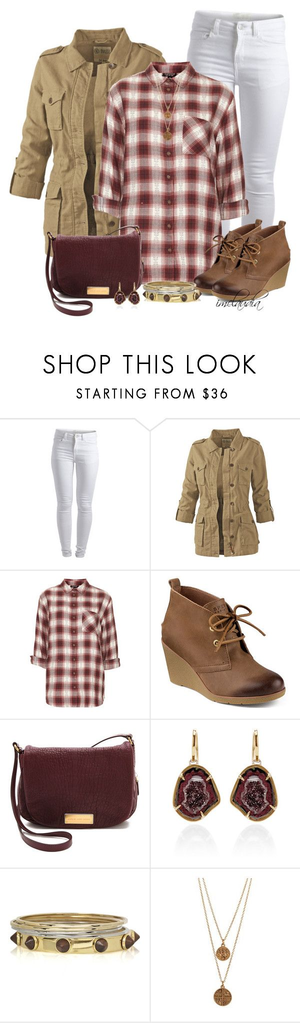 """""""Flannel Shirt and White Jeans"""" by imclaudia-1 ❤ liked on Polyvore featuring Pieces, Fat Face, Topshop, Sperry, Marc by Marc Jacobs, Kimberly McDonald, Fendi and Bee Charming"""