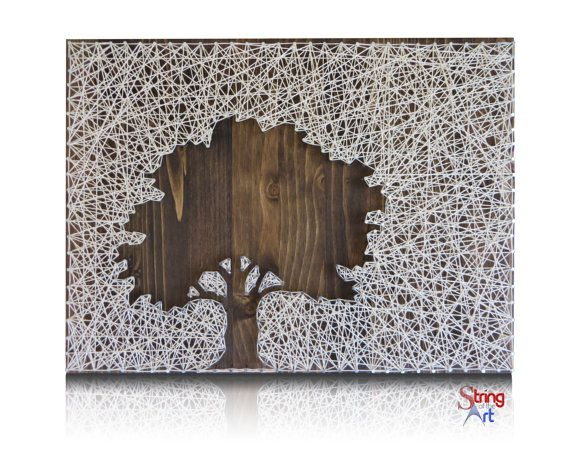 DIY String Art Kit - Oak Tree String by StringoftheArt from Etsy. Visit www.StringoftheArt.com to learn more about this beautiful DIY String Art Oak Tree and how you can easily string it together and display it inside your home.