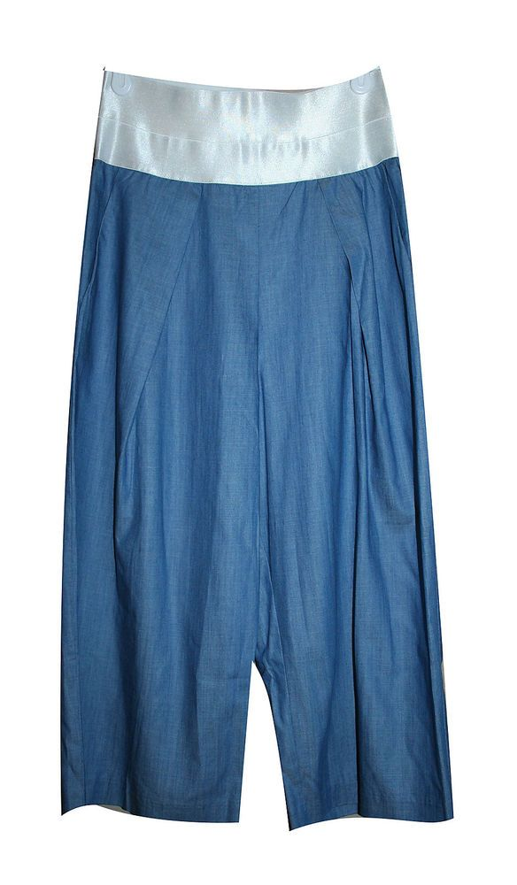 Mustard Seed Pants S Small Crop Gaucho Blue Denim Cotton High Rise Anthropologie #MustardSeed #CaprisCropped