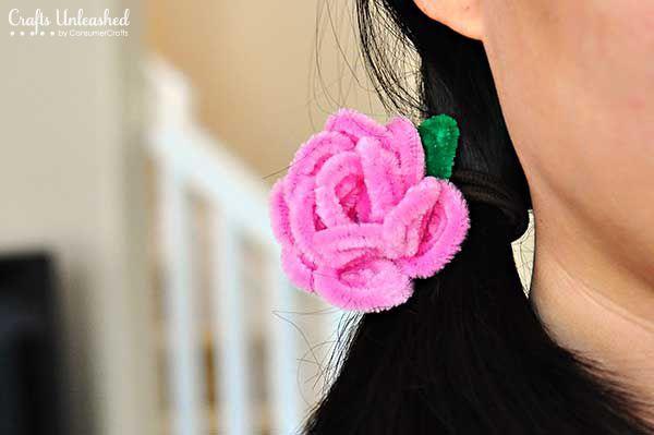 DIY Pipe Cleaner Rose Hair Ties