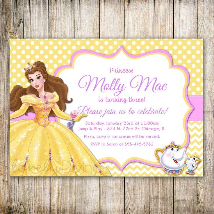 Belleza y la bestia cumpleaños invitación invitación de la