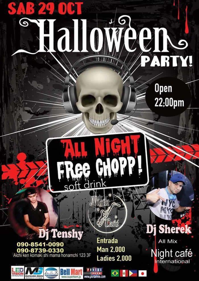 Balada em comemoração ao Dia das Bruxas com Free Chopp e Soft Drink a noite toda e a presença especial dos DJs Tenshy e Sherek! Não perca!